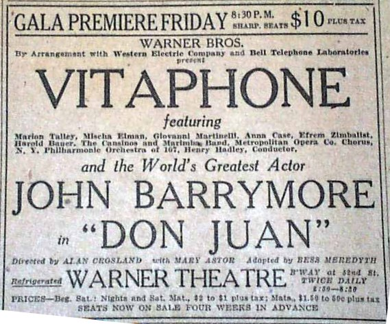 Original news ad for Don Juan premiere from THE NEW YORK TIMES, August 5, 1926 - $10 per seat!