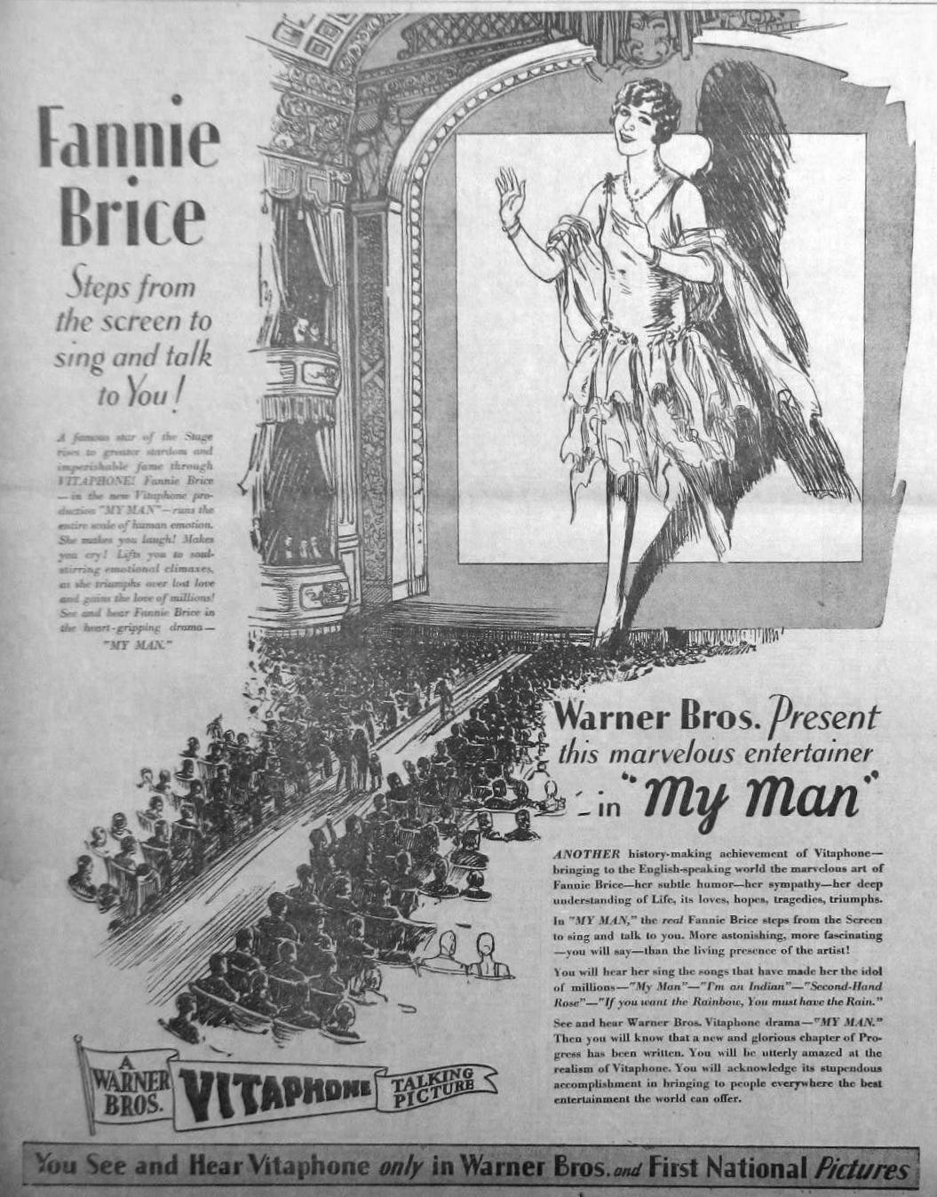 Ad for Fanny Brice in My Man (1928)