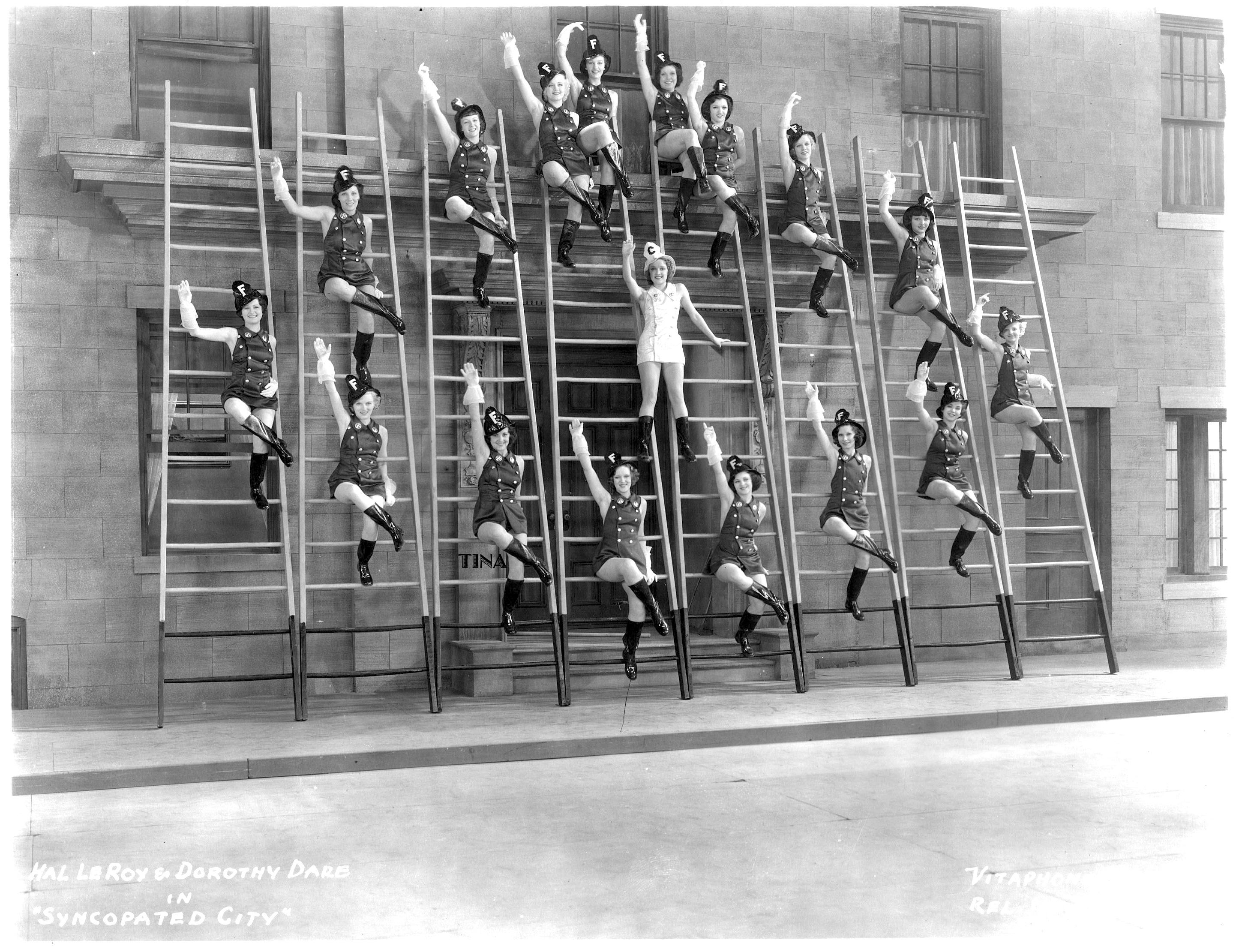 Tina, third from the left in the first row, in Syncopated City (1933).