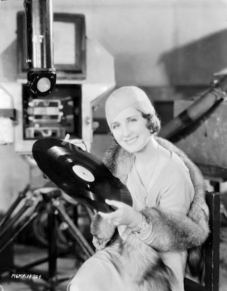 Norma Shearer examines a Vitaphone disk in 1929.